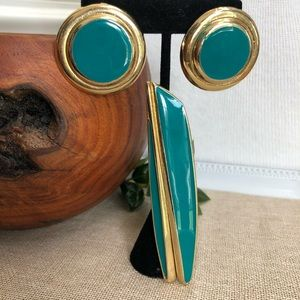 Vintage 80's Enamel Brooch and Earrings Set